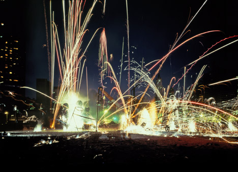 Dennis Oppenheim Formula Compound #1, A Combustion Chamber: An Exorcism from the 'Fireworks' series 1982 Battery Park, New York via Art Monthly