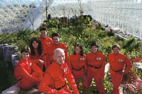 promotional photograph of the Biospherians at the launch of Biosphere 2